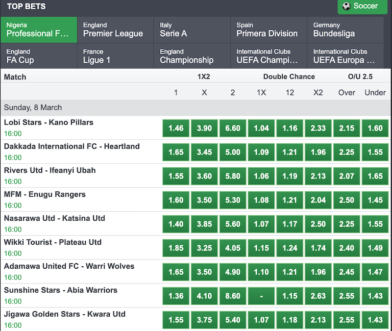 Nigerian football league betting odds coinbase credit card instant buy bitcoins
